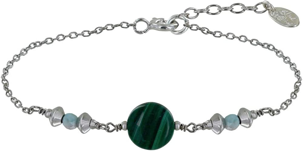 Les Poulettes Jewels - Rhodium Bracelet New mail order a Malachite Butto Fixed price for sale Silver