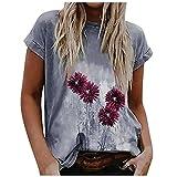 Lalaluka Camiseta de verano para mujer, camiseta de manga corta con estampado floral vintage, cuello redondo, diseño de flores, para adolescentes y niñas, gris, XL
