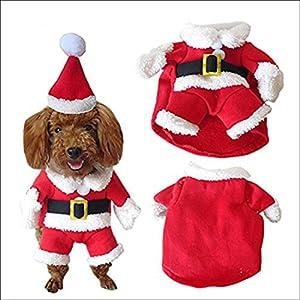 Wildlead pour Animal Domestique Costume de Noël Chien Combinaison avec Capuchon Père Noël Manteau Capuche pour Chiens de Petite Taille Chat Funny Puppy Vêtements de fête de Noël