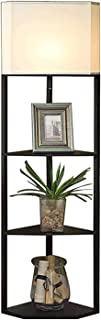 Reading Lamp مصباح أرضي LED - ضوء الدائمة الحديثة للغرف وغرف النوم - الإطار الخشبي الآسيوي مع أرفف مفتوحة Home Decoration
