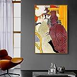 SIRIUSART Henri De Toulouse-Lautrec, Antiguo Artista Famoso y Famoso, el inglés, Pintura, póster, impresión para decoración de Habitaciones, Arte de Pared (60x90cm) 24'X35 sin Marco