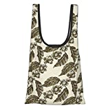 Nature Decor Classic Country Style Like Design Grape Vineyard Flowers with Ivy Leaves Sketch White Reutilizables Bolsas de comestibles ecológicas Plegable Bolsa de compras cabe en el bolsillo