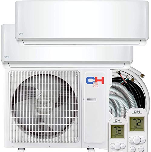 Dual 2 Zone 12,000 + 12,000 BTU Ductless Mini Split AC/Heating System, Pre-Charged, Heat Pump, 21.3 SEER Energy Star Certified, Including Copper Line Set and Communication Wires