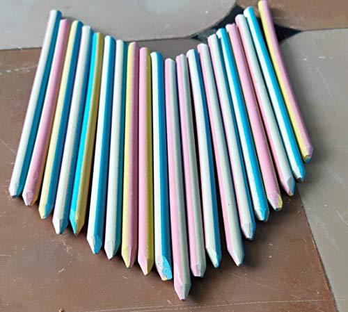 SR Colour Slate Pencils for Writing|colour slate pencils for kids|slate pencils|slate pencils box|colour slate pencil|(Multicolored)-Pack of 25 & Colour Chalk Pieces-Pack of 20-multicolour(combo)