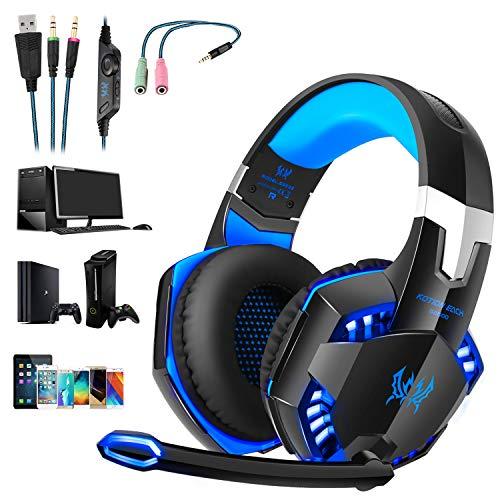 OCDAY Gaming Headset, Headset für PS4 PC Xbox One, Gaming Kopfhörer 3.5mm Surround Sound Kabelgebundenes mit Mikrofon, LED Licht für Laptop Mac Handy Tablet (Blau)