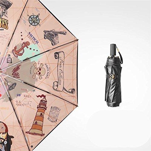 Paraplu Drie vouwen, zwart plastic zonnebrandcrème UV, kan worden gebruikt op zonnige en regenachtige dagen, lichtrood, beige, uv,100cm in diameter (Kleur : Licht rood)