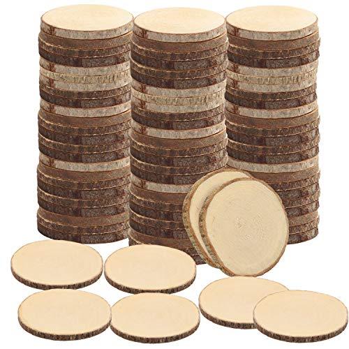 Kurtzy Natürliche Runde Holzscheiben zum Basteln (100er Pack) 3-5 cm Durchmesser - Holzscheiben Rund mit Rinde und Ohne Loch - Holzschilder zum Beschriften für DIY Kunst und Weihnachtsschmuck