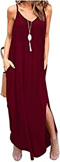 Women's Summer Casual Loose Dress Sleeveless Strappy V Neck Beach Cover Up Long Cami Maxi Dresses with Pockets (Red, S/US ...