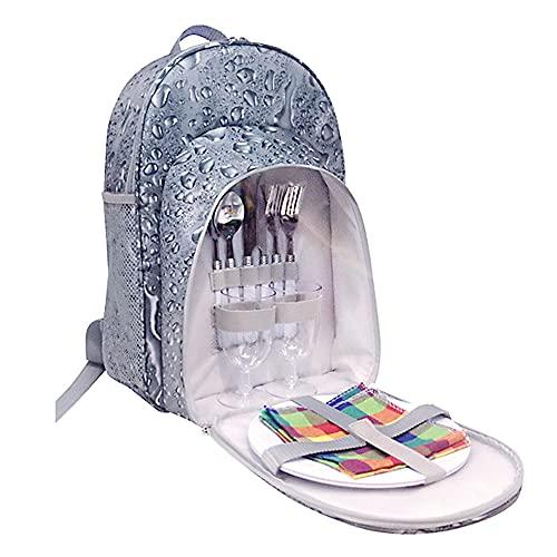 Lixada Picknick Rucksack Tasche wasserdichte Camping-Tasche mit Weinhalter Besteck Set Baumwollservietten Salzstreuer für Picknick im Freien