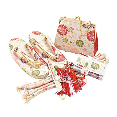 七五三 草履 バッグ [なごみや] 特選 はこせこセット 全4種 箱迫セット 礼装用 日本製 キッズ 方形散しに花_白