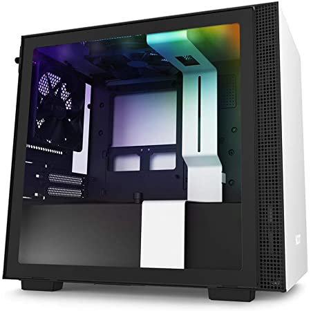 NZXT H210i - CA-H210i-W1 - Mini-ITX PC Gaming Case - Front I/O USB Type-C Port - Tempered Glass Side Panel Cable Management - Water-Cooling Ready - Integrated RGB Lighting - White/Black