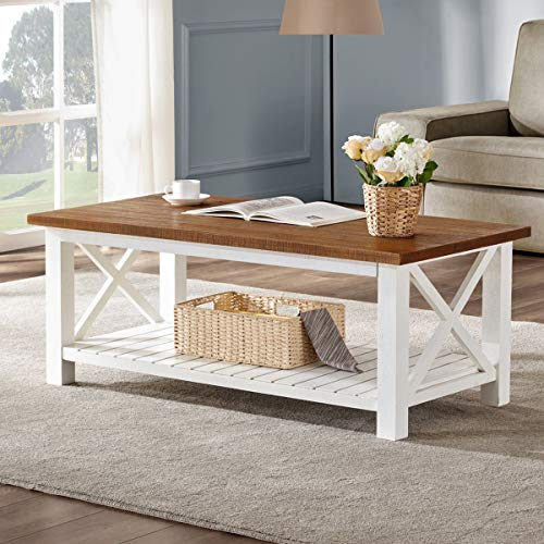 FurniChoi Farmhouse Coffee Table, Wood Rustic Vintage Cocktail Table for Living Room with Shelf, 47 White and Brown