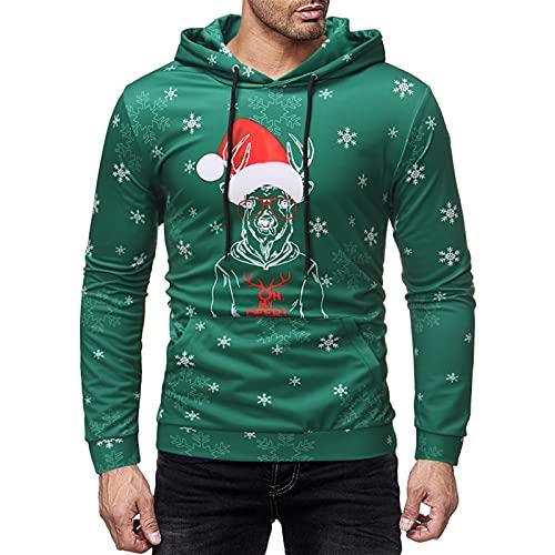 SHUTING2020 Ropa de Navidad ¡Oh mi Querido! Suéter de Navidad Feo Camiseta de Manga Larga Camiseta con Capucha Sudadera Tops para Hombres Jersey de Navidad (Color : Green, Size : XL)