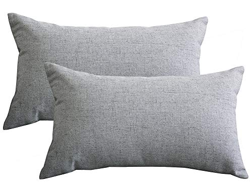Lutanky Pack of 2 Linen Cushion Covers Soft Rectangle Throw Pillow Cases for Sofa Bedroom Home Decoration (30 x 50 cm)(grey, 2 Pieces)