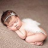HENGSONG Foto Prop Neugeborene Baby Kostüm Engelsflügel Feder Flügel mit Stirnband Fotografie Kostüm (Weiß)