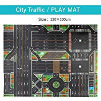 Mat B 83*57cm/130*100CM Large City Traffic Car Park Play Mat Waterproof Non-woven Kids Playmat Pull Back Car Toys for Children's Mat
