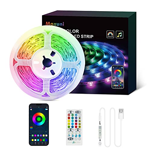 Tira LED TV 5M-Maxuni Luces LED TV RGB alimentada por USB con micrófono incorporado para TV de 32-65 pulgadas, tira de iluminación de sincronización de música USB con buletooth y control remoto