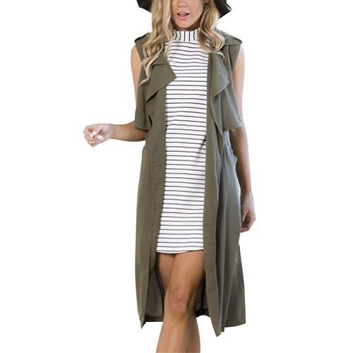 8486c7f9f0d99c ELINKMALL Women s British Style Lapel Collar Long Windbreaker Parka Sleeveless  Trench Vest Cardigan