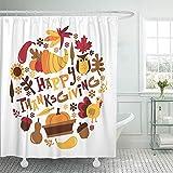 Not applicable Duschvorhang Apfel von Retro Herbst Ernte Happy Thanksgiving Phrase mit Füllhorn verlässt die Türkei & mehr Herbst Duschvorhang,72X72 In