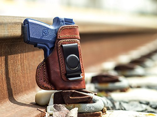 OutBags USA LS3PM9X (BROWN-RIGHT) Full Grain Heavy Leather IWB Conceal Carry Gun Holster for Kahr PM9 9mm with Crimson Trace Laser. Handcrafted in USA.