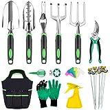 INPHER 33PCS Herramientas Jardinerías,Kit de Jardinería Acero Inoxidable,Tijeras Podar,Pala Jardinería,Guantes de Jardinería,Paleta y Rastrillo de Mano etc