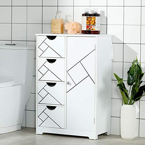 DICTAC Badschrank Badezimmer Kommode Badezimmerschrank Weiss Schrannk Sideboard verstellbare Regalebene Beistellschrank mit Schubladen Holz Küche Flur Schlafzimmer
