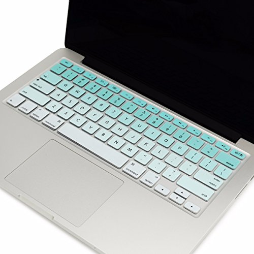 """TOP CASE - Faded Ombre Series Keyboard Cover Skin Compatible with MacBook 13"""" Unibody/Old Generation MacBook Pro 13"""" 15"""" 17""""/MacBook Air 13""""/Wireless Keyboard - Ombre Aqua Blue &White"""