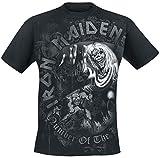 Iron Maiden Number of The Beast Grey Tone Hombre Camiseta Negro XL, 100% algodón, Regular
