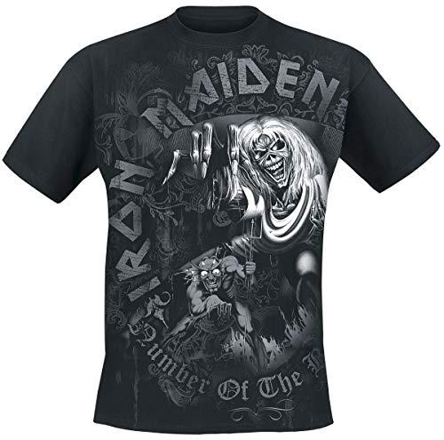 Iron Maiden Number of The Beast Grey Tone Hombre Camiseta Negro L, 100% algodón, Regular