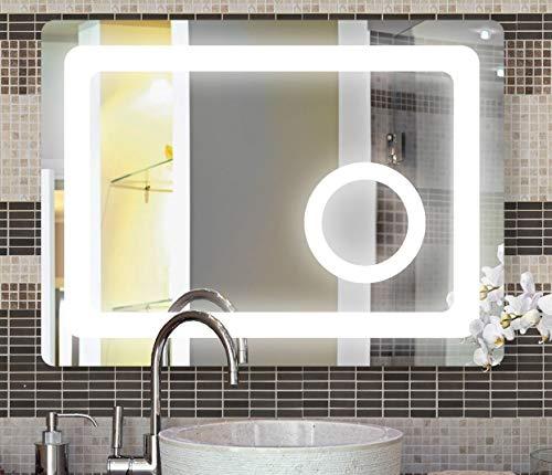Unbekannt SBC Bad Spiegel mit Led Beleuchtung und integriertem 3X Kosmetikspiegel, Lichtspiegel 80x60 cm
