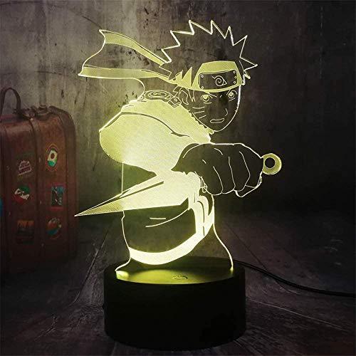 Uzumaki Naruto Luz nocturna LED 3D, lámpara de ilusión óptica, lámparas de escritorio, decoración de habitación de niños, el mejor festival regalo de cumpleaños para niños pequeños