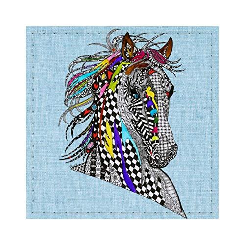 Hermoso y colorido posavasos de caballo para bebidas reutilizables cuadrado de cuero con almohadilla de respaldo para decoración del hogar regalos para hombres y mujeres