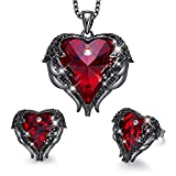 CDE Halloween Jewelry Gift Women Jewelry Set Vampire Crystals Dark Red Pendant Necklace and Studs Earrings Love Heart Pendant Angel Wing Necklace Women Christmas Jewelry Gift for Women Mom