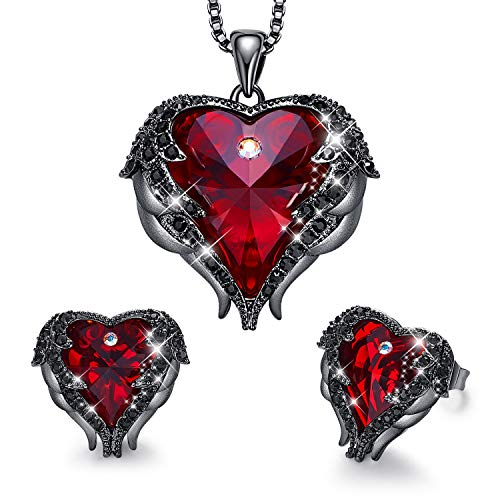 CDE Women Jewelry Set Embellished with Crystals from Swarovski Dark Red Pendant Necklace and Studs Earrings Love Heart Pendant Angel Wing Necklace Women Jewelry Gift for Mothers Day