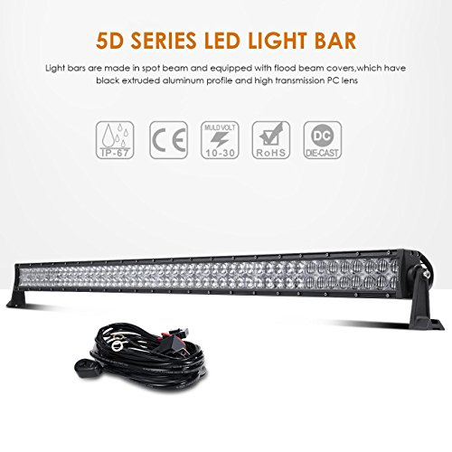 Auxbeam LED Light Bar 52 Inch 300W Off-Road Driving Lights Spot Flood Combo Led Work Light 5D Lens with Wiring Harness for Car JEEP Truck Pickup SUV UTV