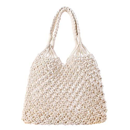 MoGist - Bolsa de paja de un solo color, bolso tejido, hecha a mano, de algodón, Blanco, 35*48cm