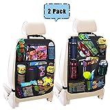 HyAdierTech Protezione Sedile Auto Organizer, Sedile Posteriore Impermeabile Posteriore con Multi-Tasca dell'Organizzatore e Pocket iPad Trasparente per Bambini Auto Sedile