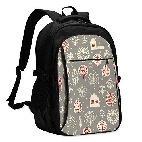 XCNGG Laptop Backpacks Tactical Winter Forest Background. Vector Illustration. Office & School Supplies with USB Data Cable and Music Jack Laptop Bags Computer Notebook 18.1X13.3 inch