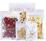 Bolsa de bolsa de papel de color holográfico de 200 piezas, 4 tamaños de bolsas de papel de Mylar reutilizables Bolsas de aluminio con cierre hermético para galletas de nueces de caramelo