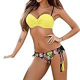 Fossen Mujer Ropa Conjunto de bikini para Mujer XX-Large Amarillo