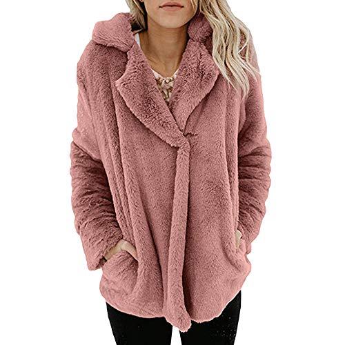 iHENGH Damen Winter Jacke Dicker Warm Bequem Slim Parka Mantel Frauen beiläufige Lange Hülsen Pullover Bluse öffnen vordere Oberbekleidung Coat(M,Rosa)