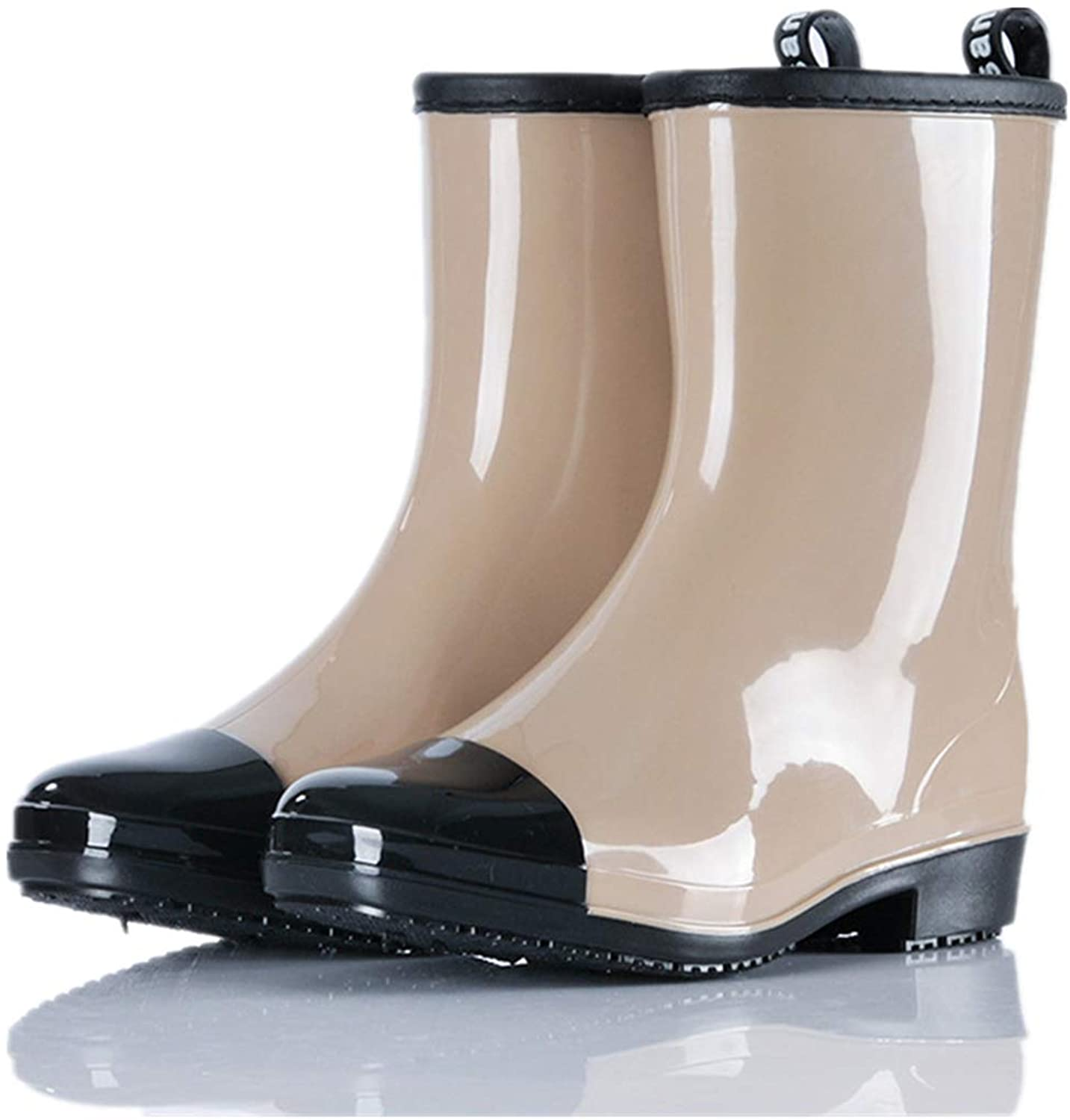 Women's Rain Boots Multiple color Mid Fashion Rubber Snow Boots Slip On Waterproof Rain Booties