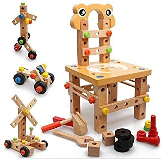 مجموعات Kidco لعب DIY برغي بلوك آخر العمل كرسي البناء 52 ألعاب خشبية جميلة قطعة