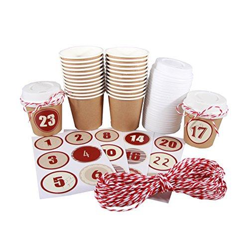 """BODA Set Adventskalender """"Cups"""", 24 Cups braun 24 Adventszahlen 12m Papierschnur"""