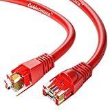CABLECHOICE Cat6 Ethernet Cable (50-Pack - 1.5 FT) Red - 24AWG Network Cable with Gold Plated RJ45 Snagless/Molded/Booted Connector - 10 Gigabit/Sec High Speed LAN Internet/Patch Cable - 550MHz