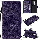 KKEIKO Hülle für Nokia 8.1 Plus, PU Leder Brieftasche Schutzhülle Klapphülle, Sun Blumen Design Stoßfest Handyhülle für Nokia 8.1 Plus - Violett
