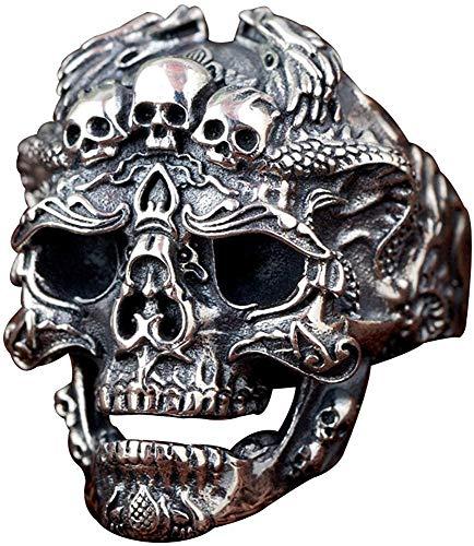 QAZXCV Negro del cráneo gótico de Plata de Ley 925 Anillo Abierto la Cabeza con los Dragones de Elegante Mujeres de los Hombres de Medida Adaptable