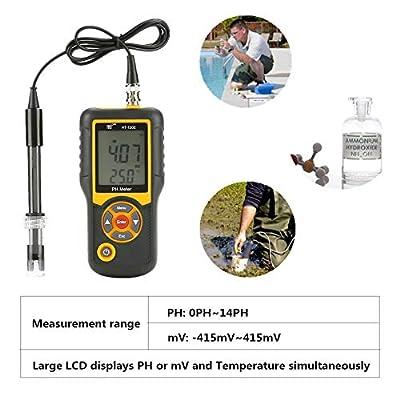 Hohe Präzision Tragbar Wasserqualität Tester Analyzer,HT-1202 PH-Meter Hohe Präzision Digital Wasserqualität Tester PH mV Tester Temperaturmessgerät 0~14PH,für Haushalt trinken,Pool,Aquarium usw