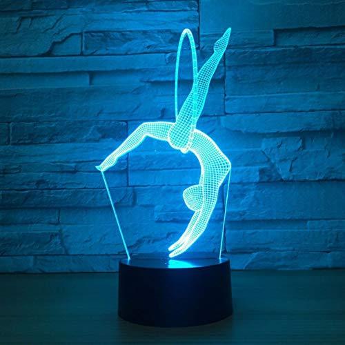 3D Lámparas De Escritorio,3D Lampara Ilusion,7 Colores Cambiando Con El Botón De Tacto Inteligente Iluminación Decoración Dormir Lámpara,Niño Cumpleaños Presente,Gimnasia Habilidades Especiales