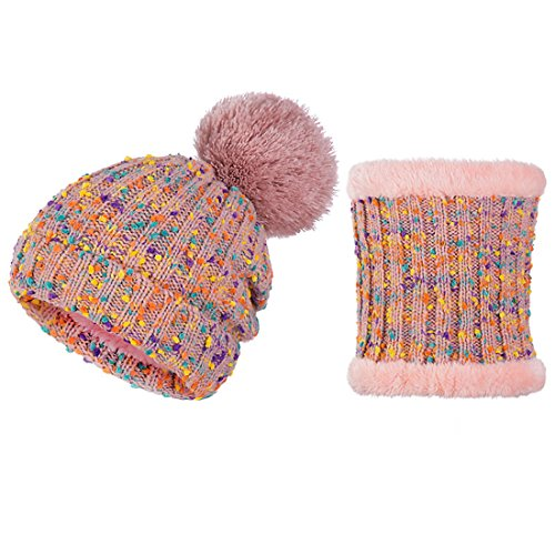 ECYC® Mode Pom Pom Femmes Hiver Chapeau ÉCharpe Ensemble Filles Chaud Col Tricoté Beanie Foulards, Rose